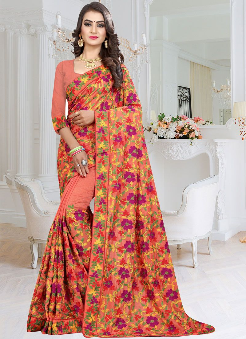 Fancy Fabric Peach Patch Border Designer Saree