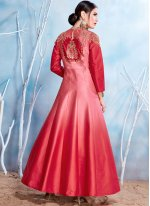 Fancy Fabric Pink and Red Resham Work Readymade Gown