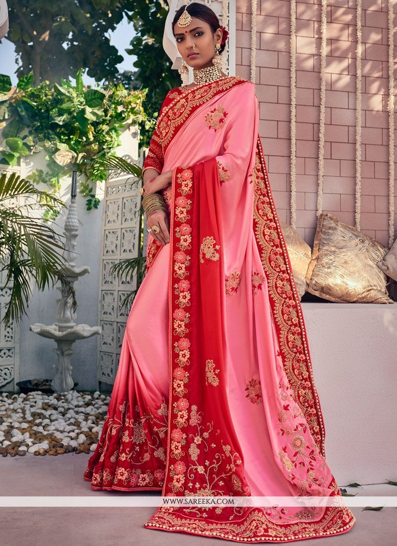 64a7bc076d Shop Online Fancy Fabric Pink and Red Resham Work Traditional Designer Saree  : 73077 -