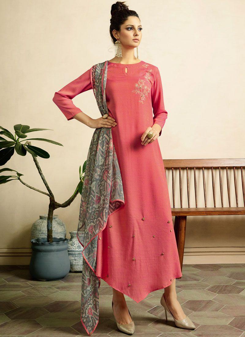 e04f9f991 Buy Fancy Fabric Print Pink Party Wear Kurti Online   95514 -