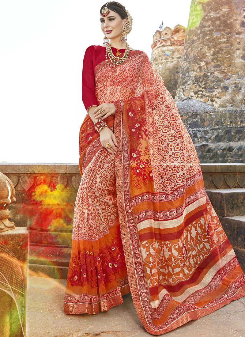 Fancy Fabric Print Work Casual Saree