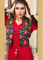Fancy Fabric Red Embroidered Party Wear Kurti