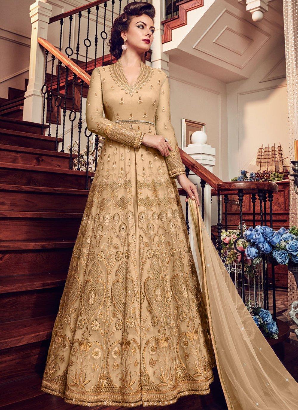 Fancy Fabric Resham Beige Floor Length Anarkali Suit
