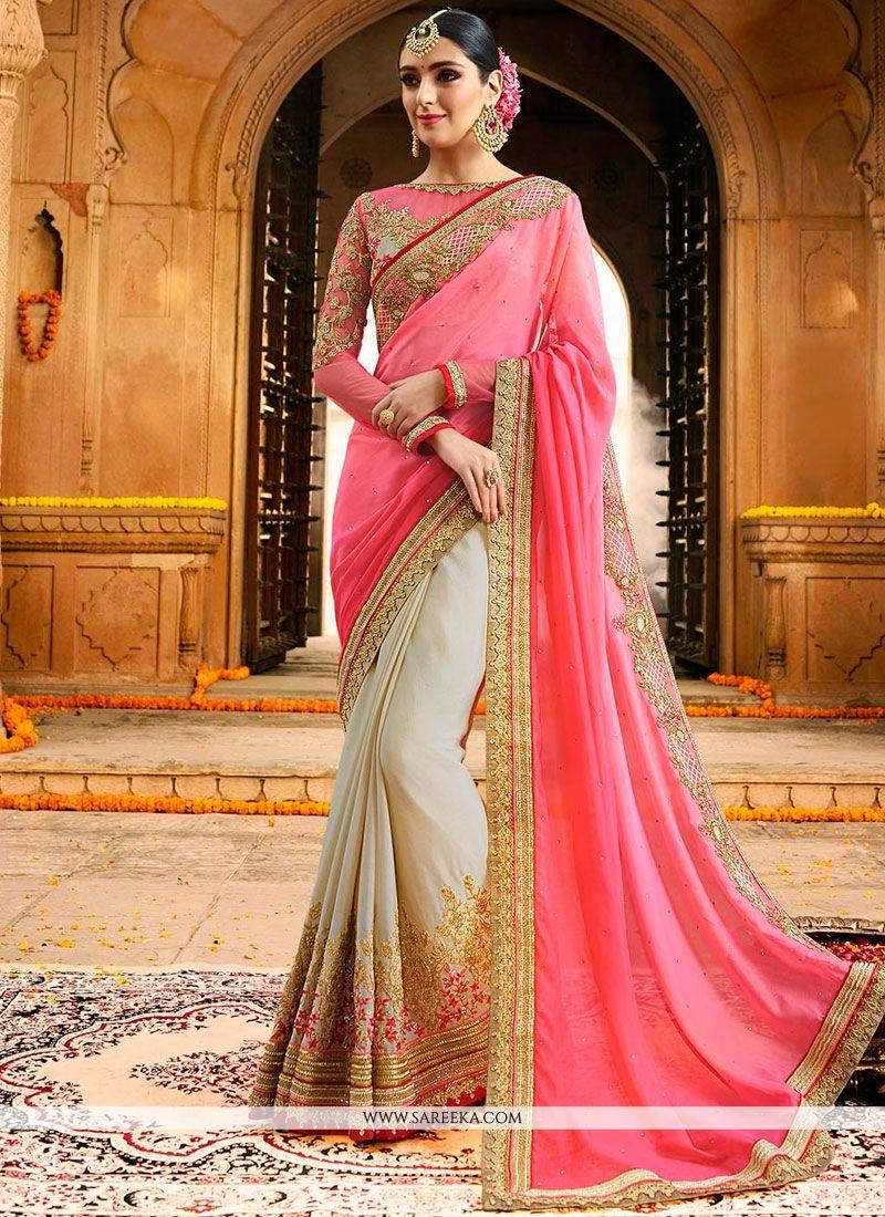 Fancy Fabric Resham Work Designer Half N Half Saree