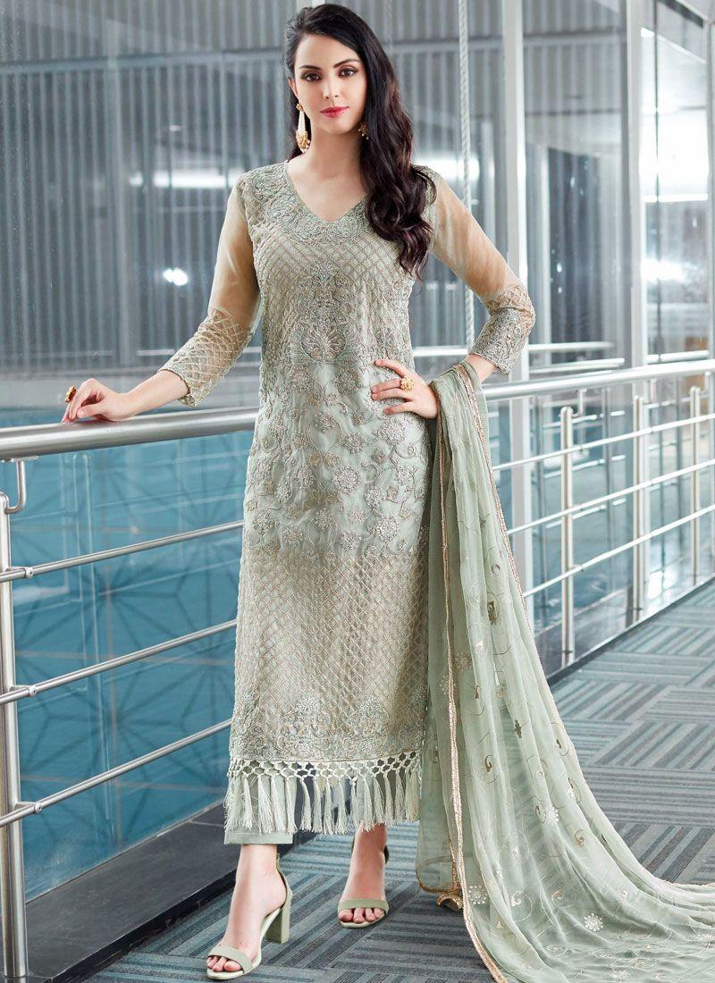 d4e8d2bb74 Shop Online Fancy Fabric Resham Work Designer Pakistani Suit : 85718 -
