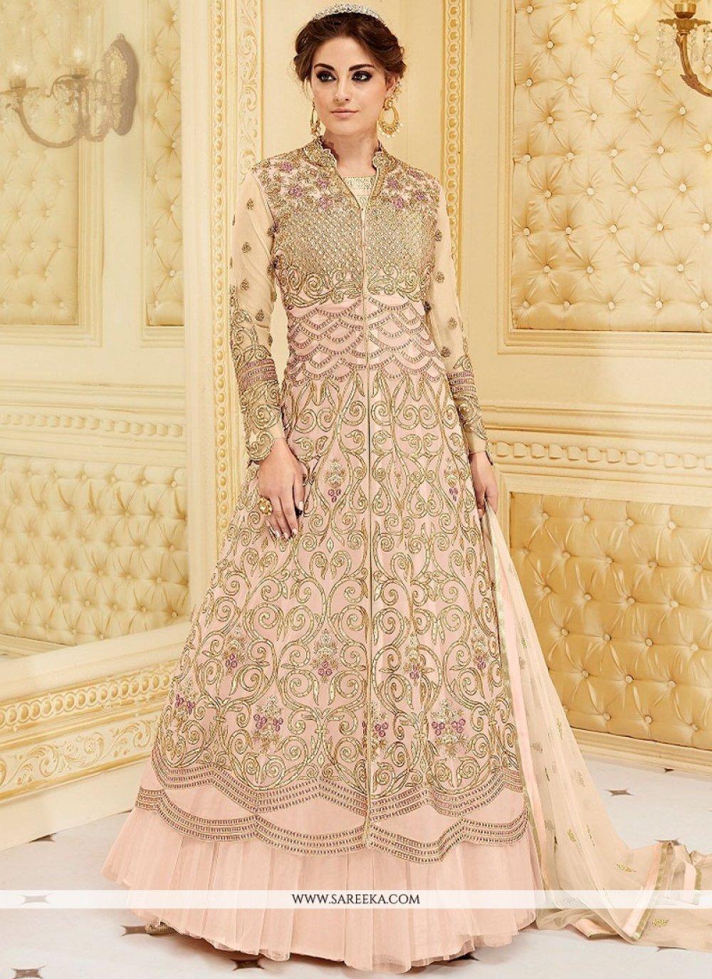 Fancy Fabric Resham Work Floor Length Anarkali Suit