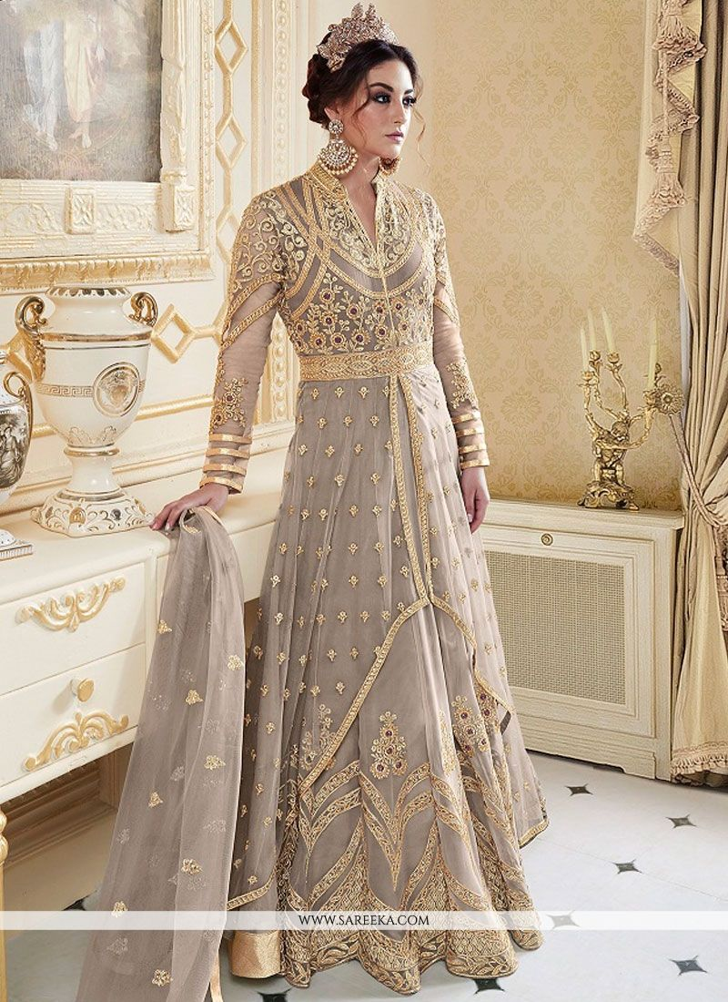 Fancy Fabric Resham Work Floor Length Anarkali Suit