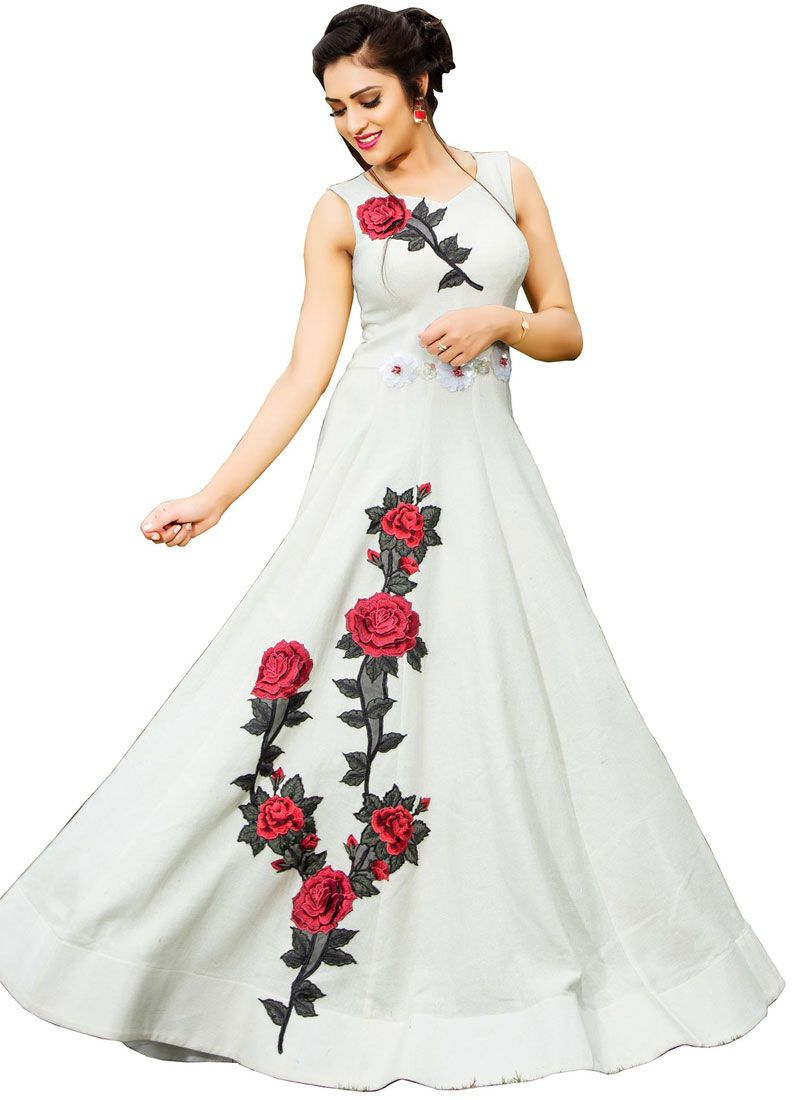 Fancy Fabric White Readymade Gown
