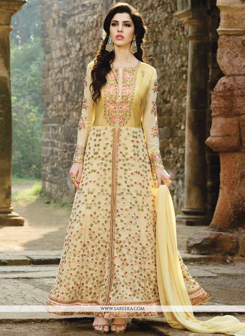 Fancy Fabric Yellow Floor Length Anarkali Suit