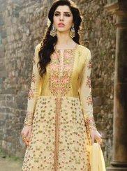 Fancy Fabric Yellow Floor Length Anarkali Suit