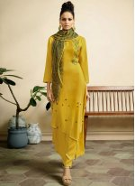 Fancy Fabric Yellow Print Party Wear Kurti