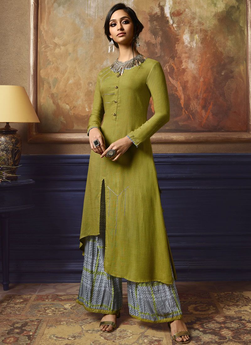 Fancy Green Party Wear Kurti