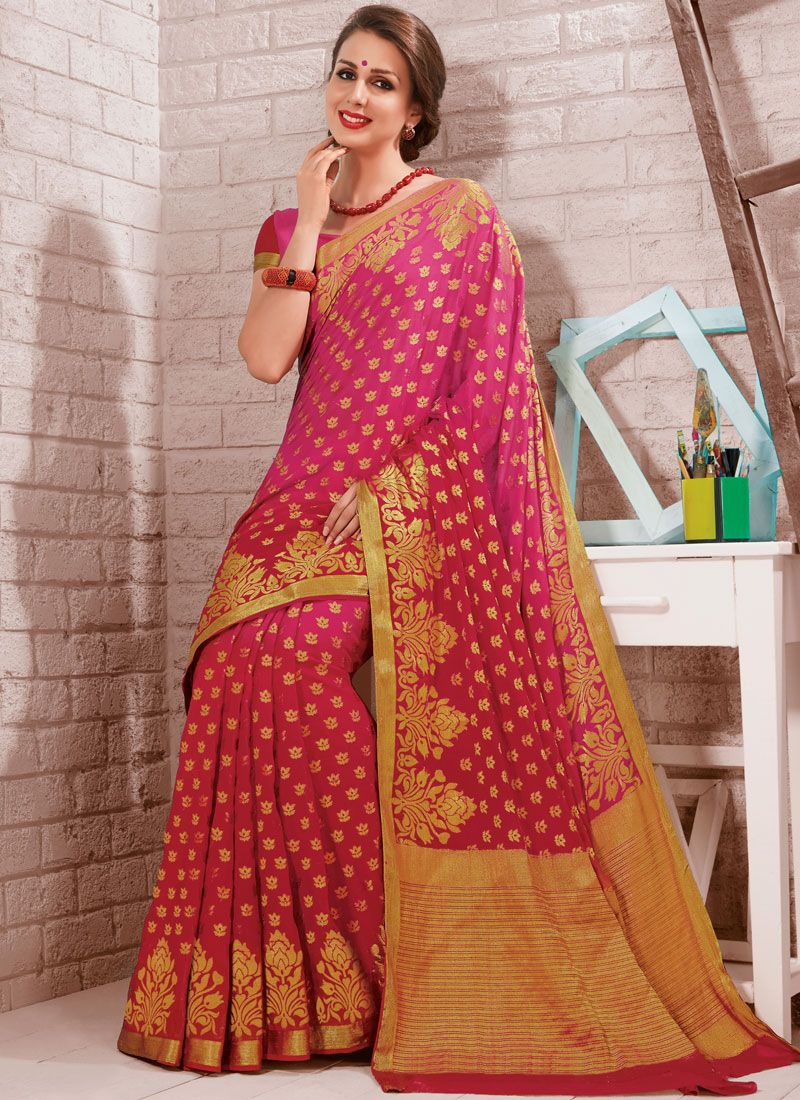 Fancy Rose Pink Crepe Silk Traditional Designer Saree