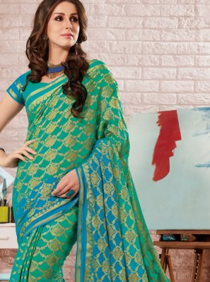 Fancy Sea Green Crepe Silk Shaded Saree