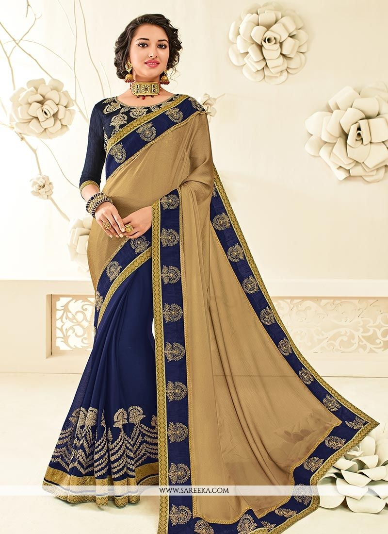 Faux Chiffon Beige and Blue Embroidered Work Designer Half N Half Saree