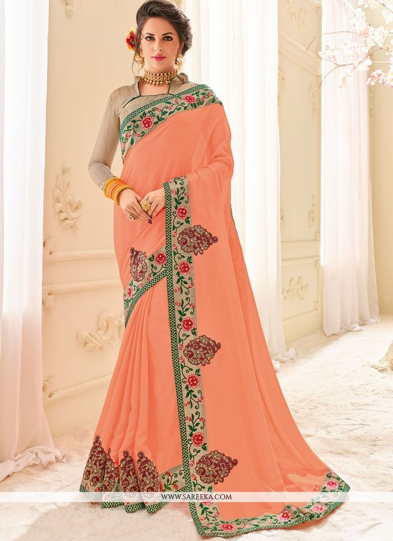 Faux Chiffon Embroidered Work Classic Designer Saree