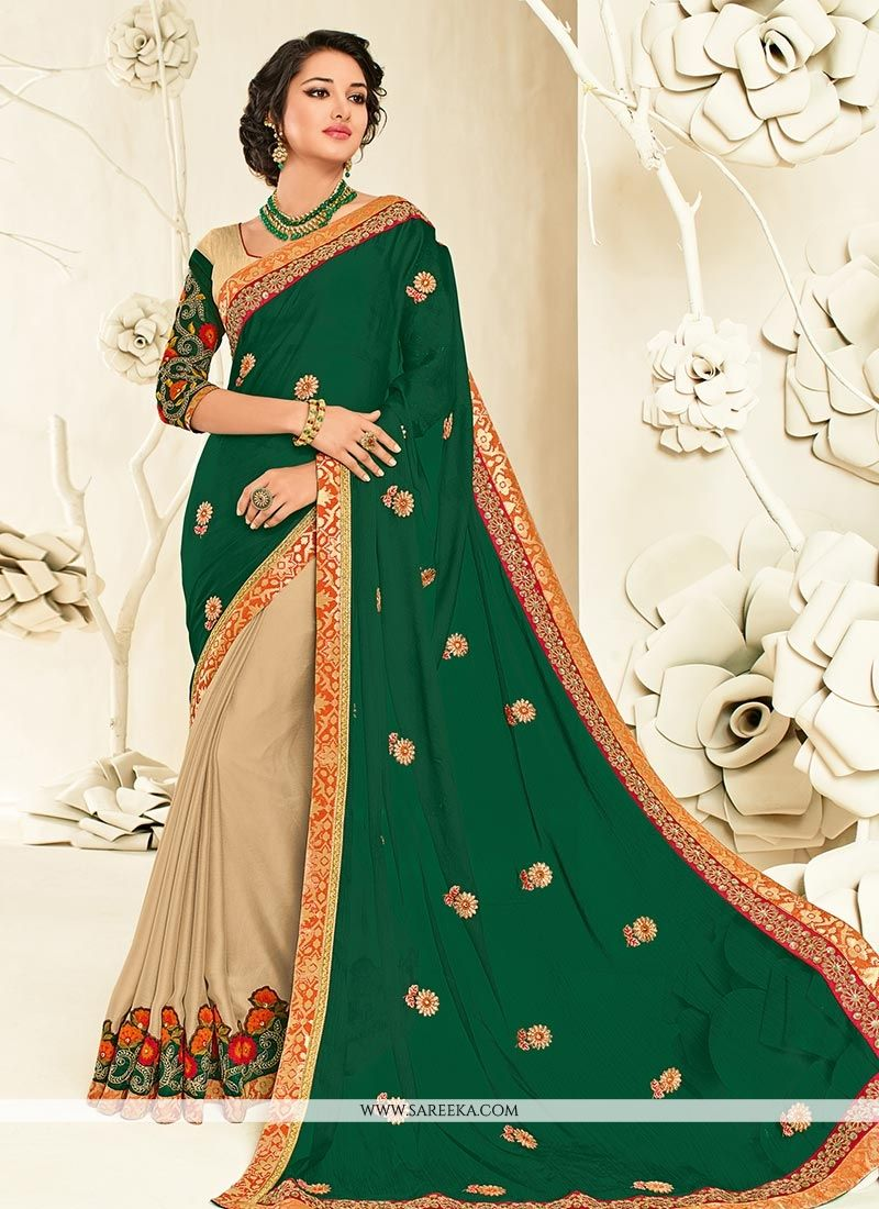 Faux Chiffon Embroidered Work Half N Half Designer Saree