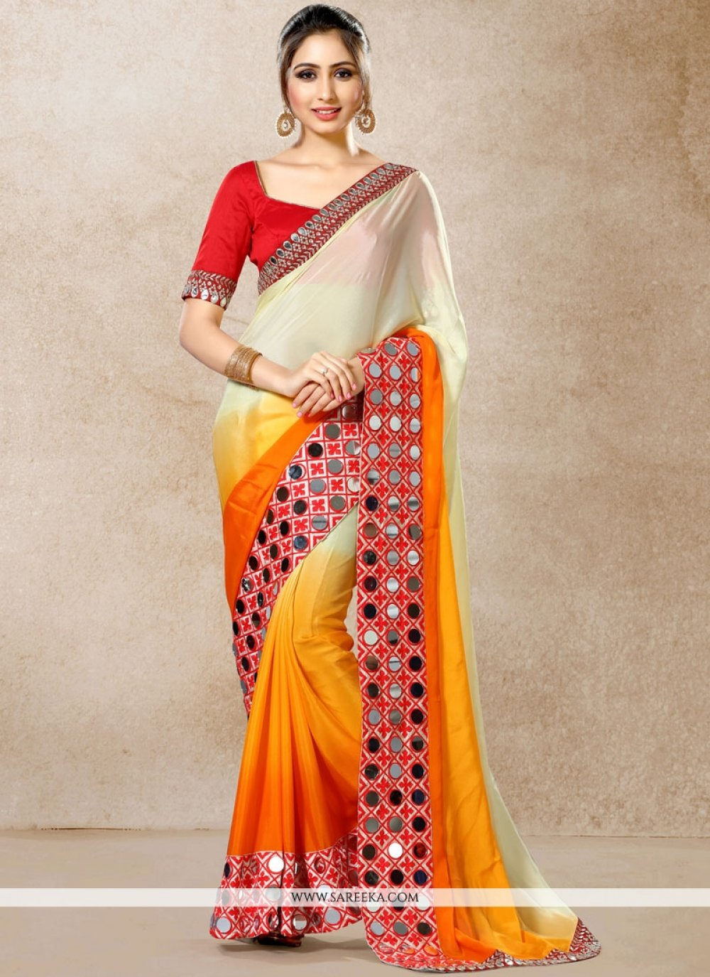 Faux Chiffon Embroidered Work Shaded Saree