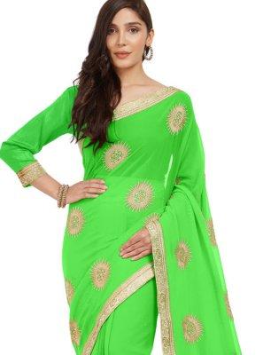 Faux Chiffon Green Casual Saree