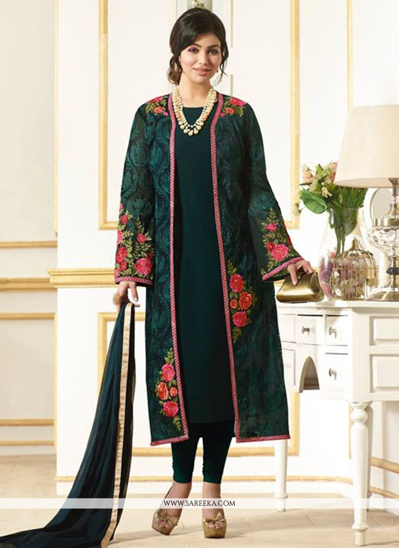 Faux Chiffon Green Embroidered Work Salwar Kameez