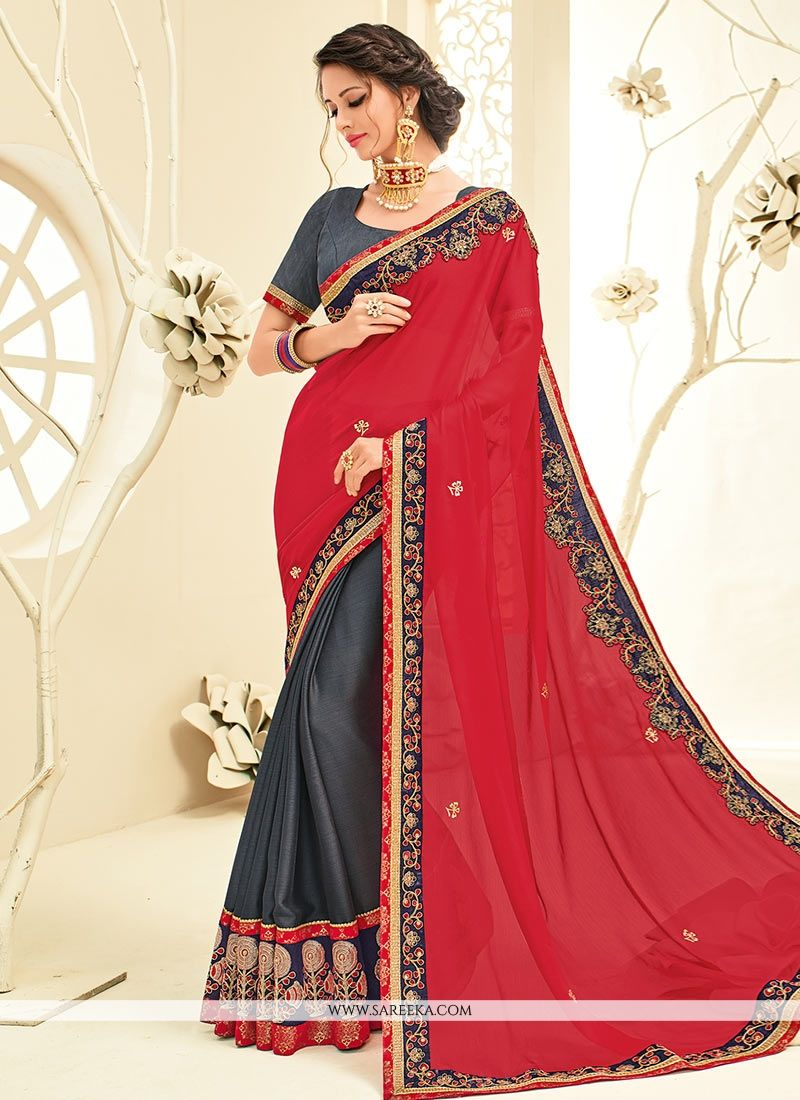 Faux Chiffon Grey and Red Designer Half N Half Saree