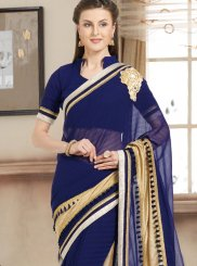 Faux Chiffon Navy Blue Bollywood Saree