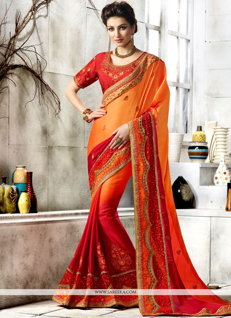 Faux Chiffon Orange and Red Shaded Saree