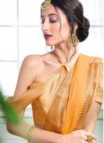 Faux Chiffon Orange Classic Designer Saree