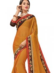 Faux Chiffon Orange Saree