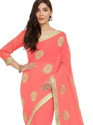 Faux Chiffon Peach Embroidered Work Casual Saree