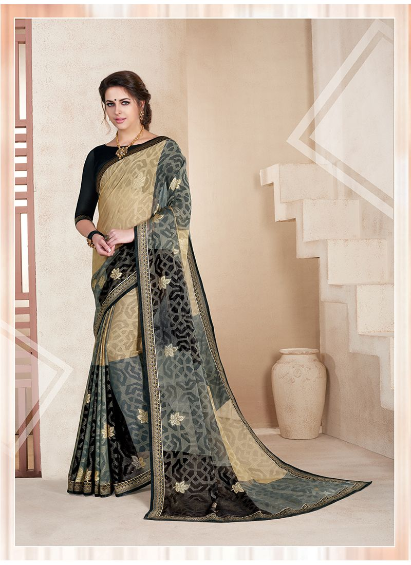 Faux Chiffon Print Work Printed Saree