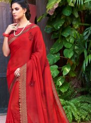 Faux Chiffon Red Resham Work Classic Saree