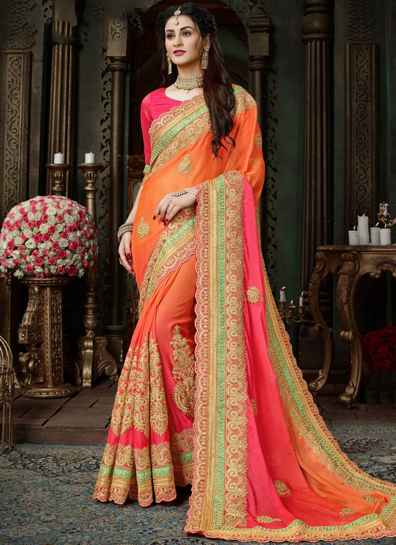 Faux Chiffon Shaded Saree