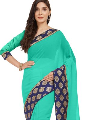 Faux Chiffon Teal Border Work Casual Saree