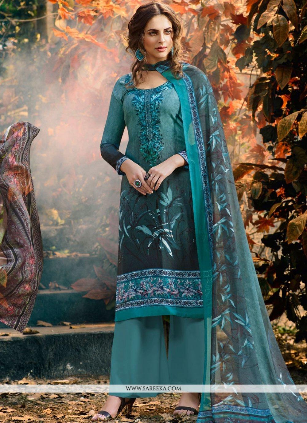 Faux Crepe Blue Palazzo Suit