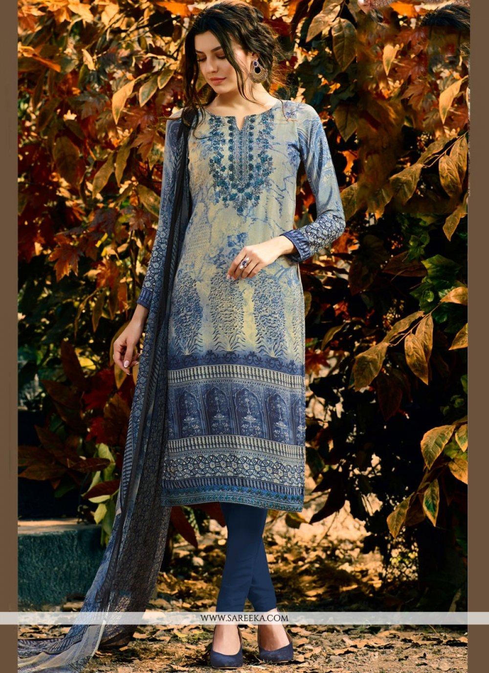 Faux Crepe Blue Print Work Churidar Suit