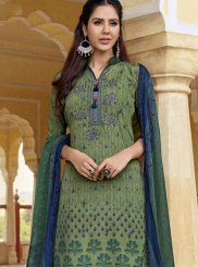 Faux Crepe Designer Pakistani Suit in Multi Colour