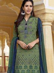 Faux Crepe Designer Pakistani Suit in Multi Colour