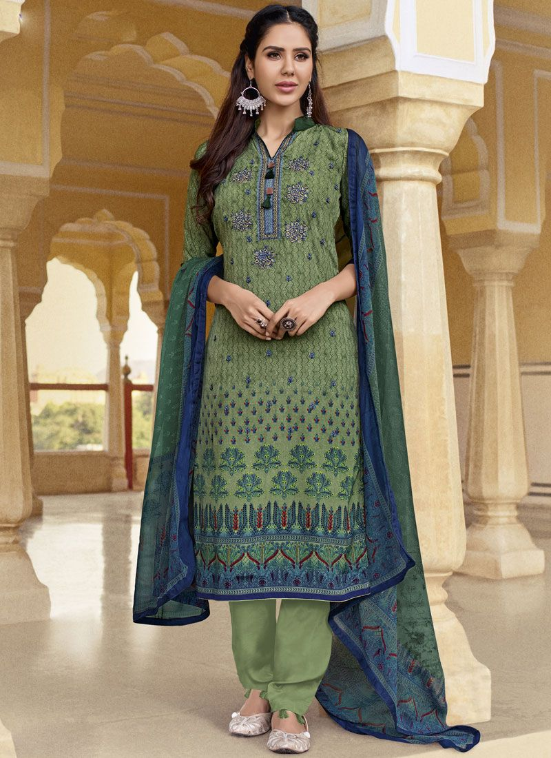 9612f3bb08 Buy Faux Crepe Designer Pakistani Suit in Multi Colour Online -