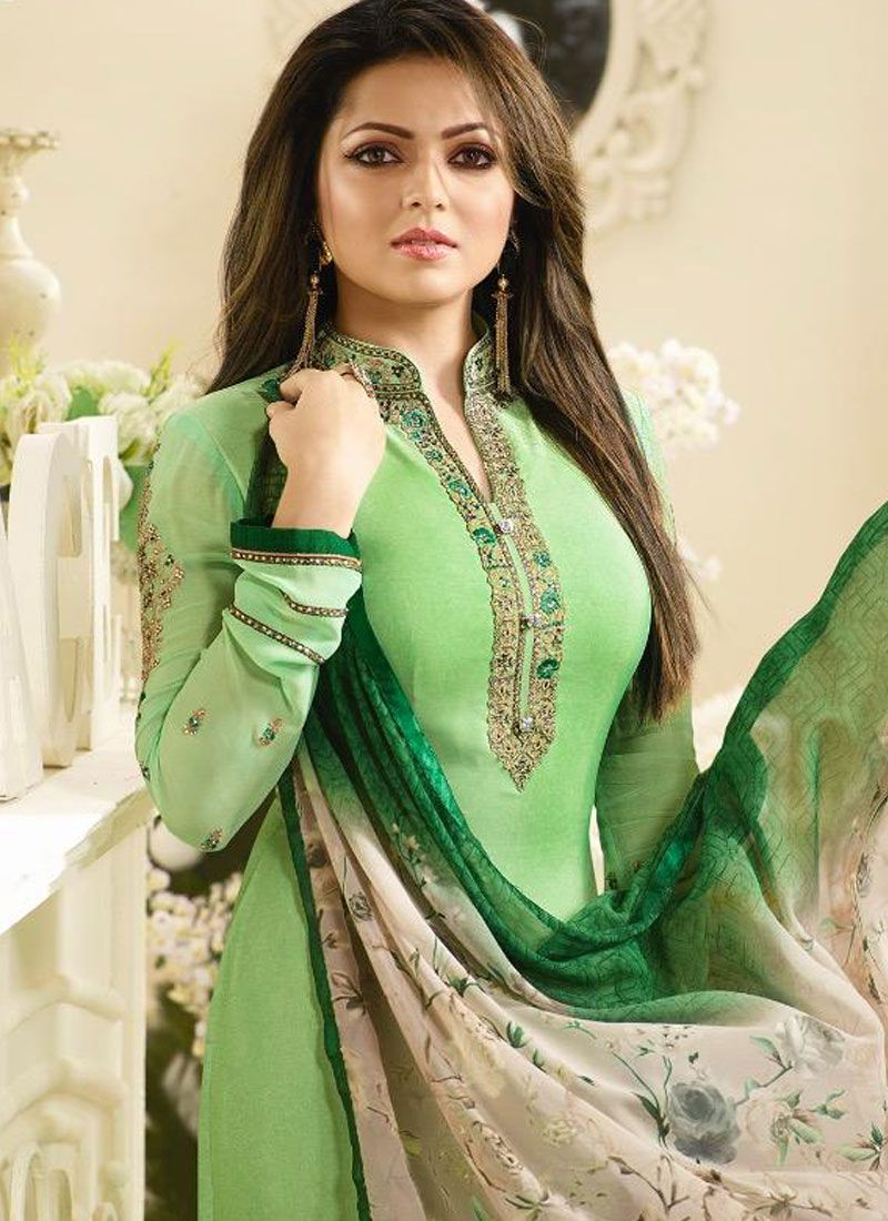 a2fcd8a946 Buy Faux Crepe Green Embroidered Work Churidar Salwar Suit Online : 83396 -