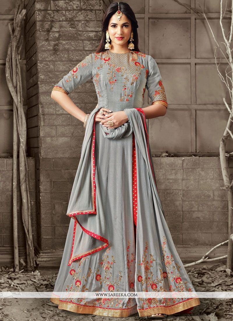 Faux Crepe Grey Floor Length Anarkali Suit