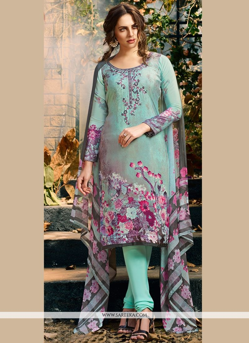 Faux Crepe Multi Colour Churidar Suit