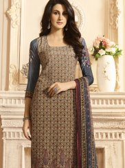 Faux Crepe Multi Colour Designer Suit