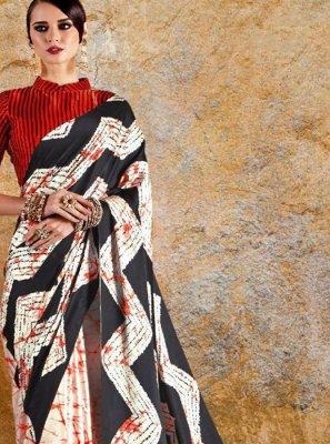 Faux Crepe Multi Colour Print Printed Saree