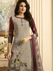 Faux Crepe Multi Colour Print Work Designer Palazzo Suit