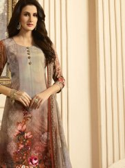 Faux Crepe Multi Colour Print Work Designer Suit