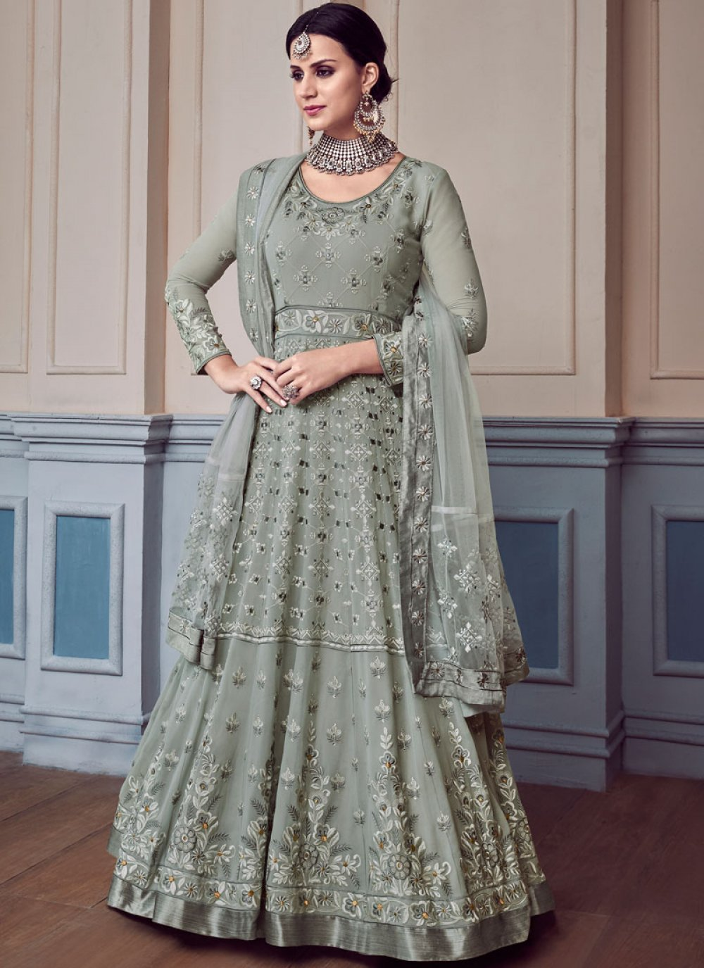 Faux Georgette Anarkali Salwar Suit in Grey