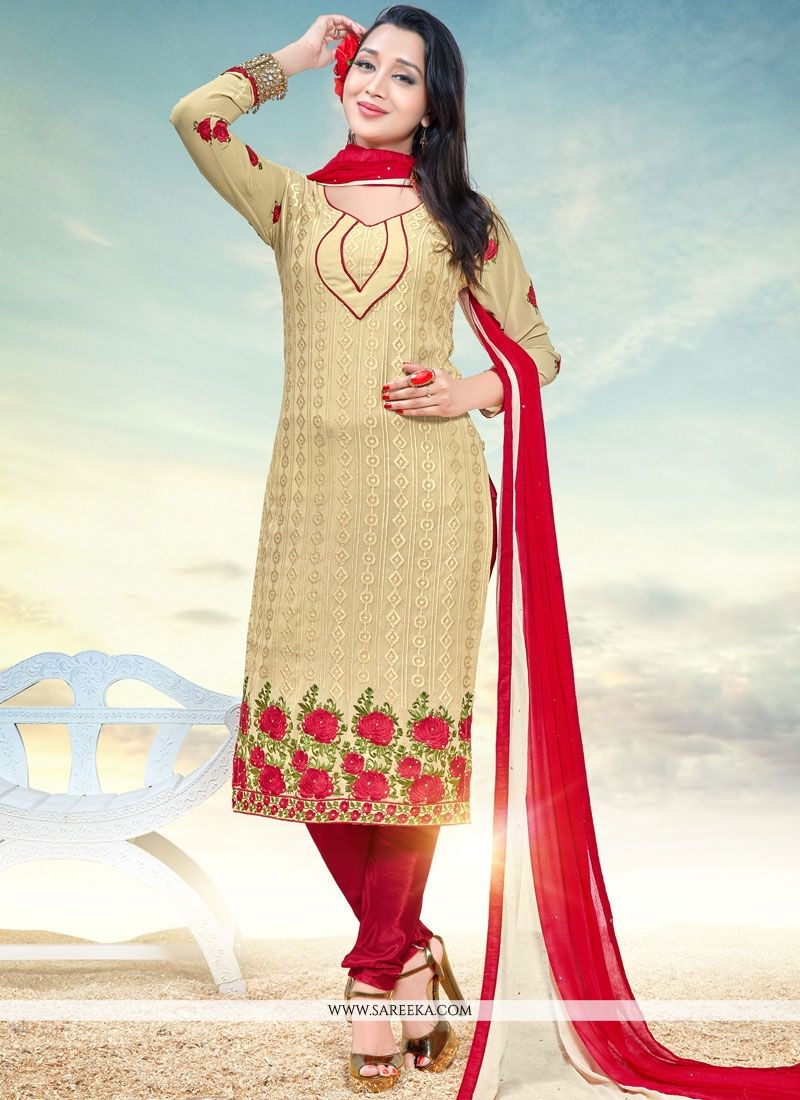 Faux Georgette Beige Churidar Designer Suit