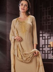 Faux Georgette Beige Embroidered Work Churidar Designer Suit