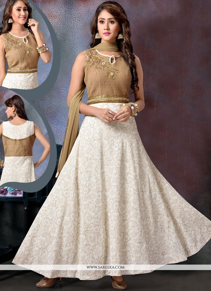 Faux Georgette Beige Embroidered Work Readymade Anarkali Suit